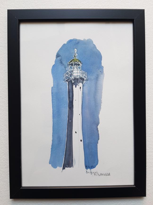 akvarel fra roenne, bornhom light tower