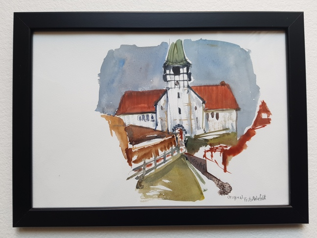 kirke-roenne-church, watercolor by Frits Ahlefeldt