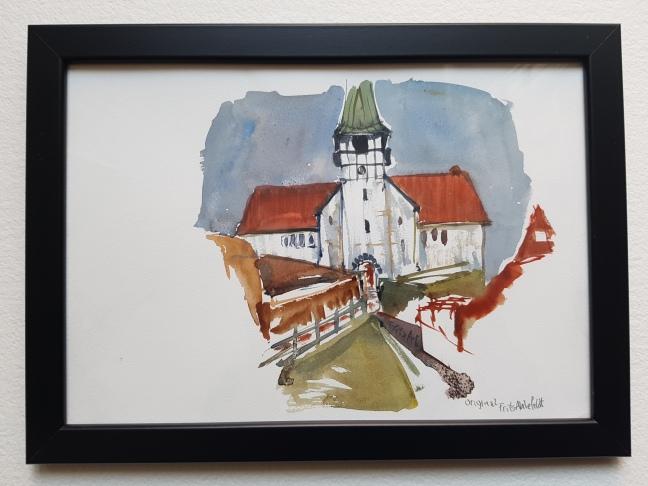 kirke-roenne-church, watercolor by Frits Ahlefeldt