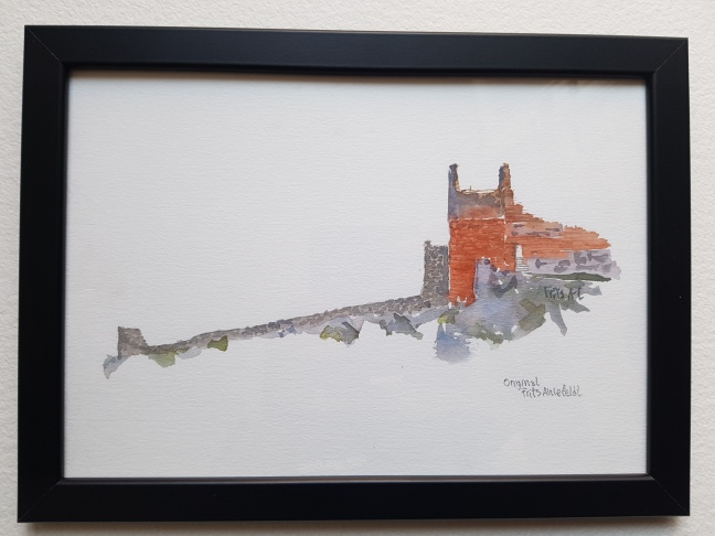 watercolor of Hammershus, Bornholm. Original Watercolor