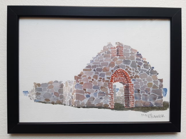 Salomon Chapel - Hammeren- Bornholm, Watercolor by Frits Ahlefeldt