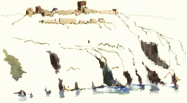 Akvarel af Hammershus, af Frits Ahlefeldt