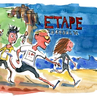 drawing of runners running along the Bornholm coast