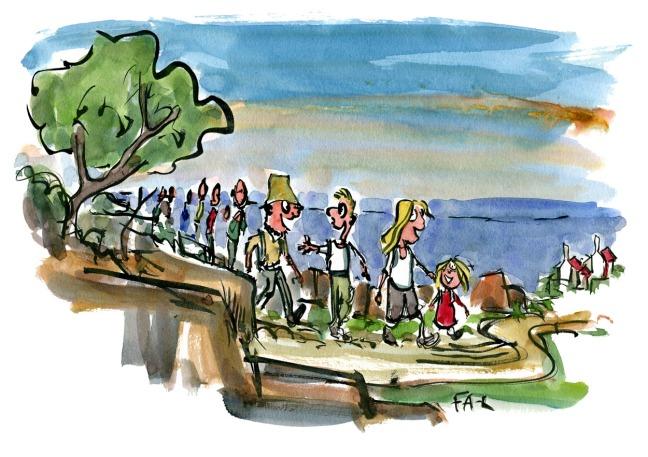 Hikers illustration walking along the coast