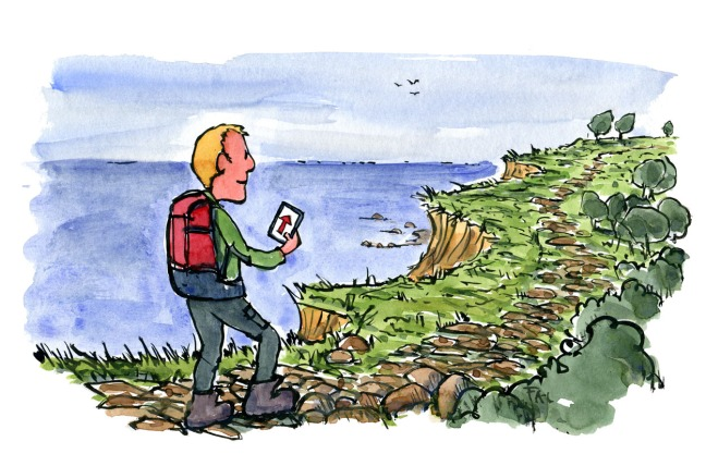 illustration of hiker with digital map
