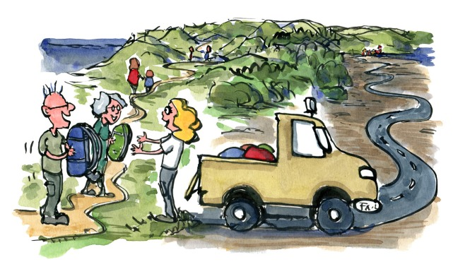 illustration of luggage service car,along the trails. drawing by Frits Ahlefeldt
