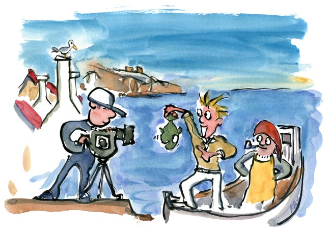 illlustration video reportage of small harbor with fish