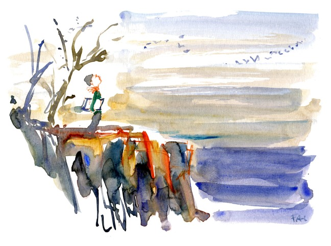 Watercolor of artist standing on the cliffs looking at birds above the sea, watercolor by Frits Ahlefeldt