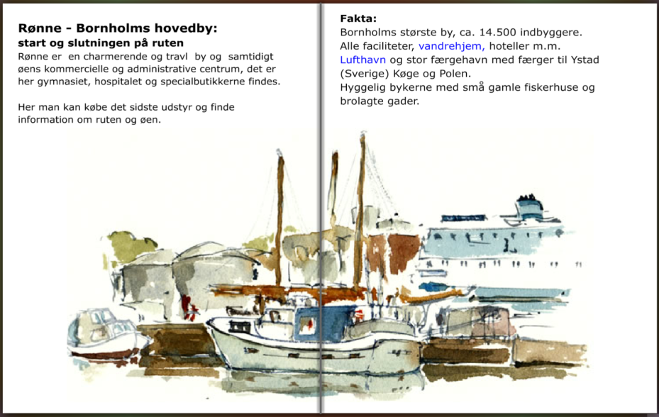 Rønne start på vandre kyststi rundt om Bornholm. hiking guide by Frits Ahlefeldt
