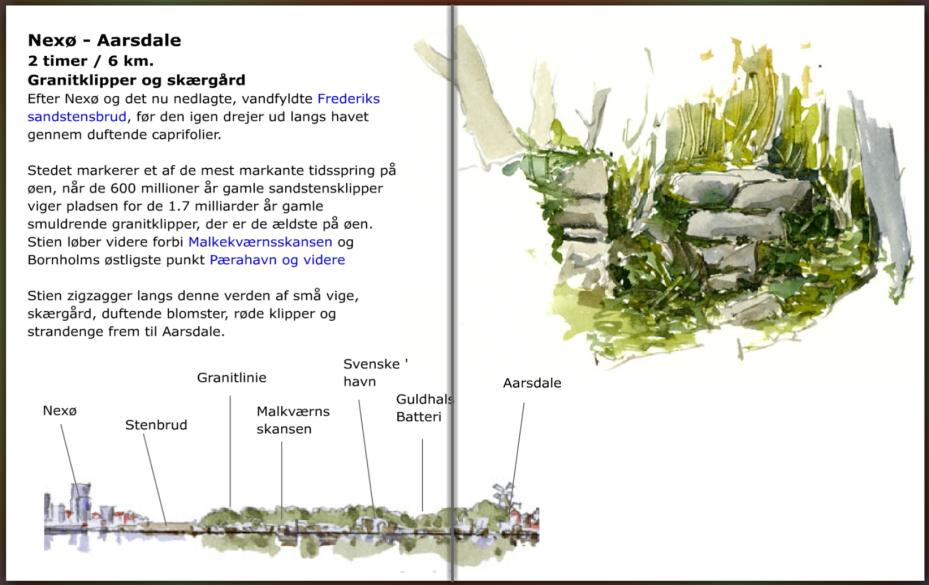 Guide til vandrestien mellem nexø og Aarsdale på Bornholm, hiking guide by Frits Ahlefeldt