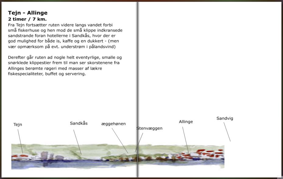 Vandrerutebeskrivelse af stien mellem Tejn og Allinge, hiking guide by Frits Ahlefeldt