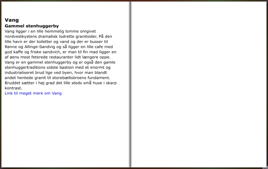 Beskrivelse af den lille by Vang på Bornholm, hiking guide by Frits Ahlefeldt