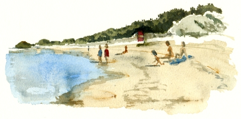 Balka beach with kids, akvarel - Watercolor by Frits Ahlefeldt Bornholm Coast path
