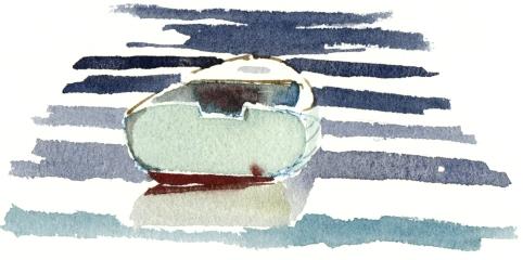 boat, akvarel - Watercolor by Frits Ahlefeldt Bornholm Coast path