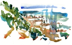 beach, south bornholm, akvarel - Watercolor by Frits Ahlefeldt Bornholm Coast path
