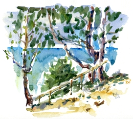 Galøkken, akvarel - Watercolor by Frits Ahlefeldt Bornholm Coast path