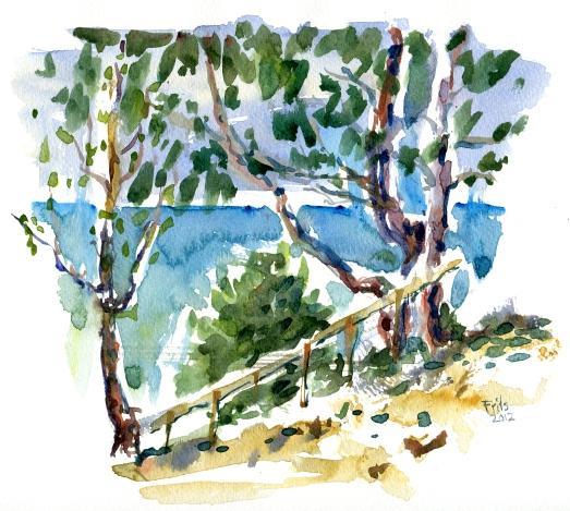 Galøkken, akvarel - Watercolor by Frits Ahlefeldt Bornholm Coast path