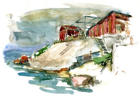 Shack, fiskerskur, sose, akvarel - Watercolor by Frits Ahlefeldt Bornholm Coast path