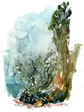 south coast, akvarel - Watercolor by Frits Ahlefeldt Bornholm Coast path