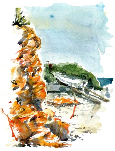Syd kysten, akvarel - Watercolor by Frits Ahlefeldt Bornholm Coast path