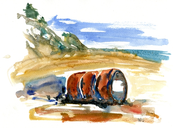 syd akvarel - Watercolor by Frits Ahlefeldt Bornholm Coast path