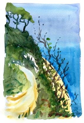 Syd, akvarel - Watercolor by Frits Ahlefeldt Bornholm Coast path