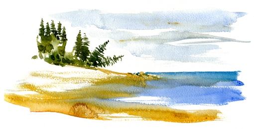 Sydkysten, akvarel - Watercolor by Frits Ahlefeldt Bornholm Coast path