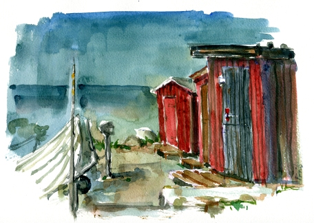 Sose odde, akvarel - Watercolor by Frits Ahlefeldt Bornholm Coast path