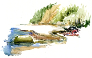 Sydstranden, akvarel - Watercolor by Frits Ahlefeldt Bornholm Coast path