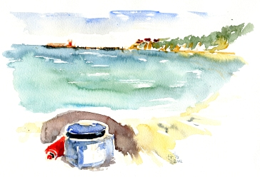 Arnager, whisperlite akvarel - Watercolor by Frits Ahlefeldt Bornholm Coast path