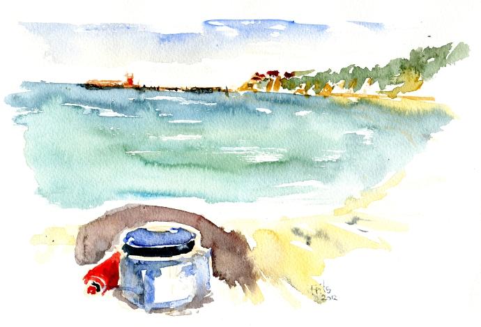 Arnager, whisperlite akvarel - Watercolor by Frits Ahlefeldt Bornholm Coast path