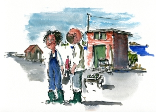 Aarsdale folk, akvarel - Watercolor by Frits Ahlefeldt Bornholm Coast path