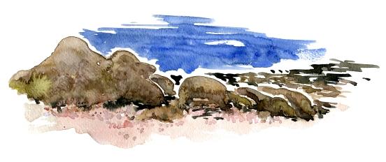 Aarsdale, ancient granite rocks, akvarel - Watercolor by Frits Ahlefeldt Bornholm Coast path