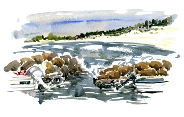 Balka, akvarel - Watercolor by Frits Ahlefeldt Bornholm Coast path