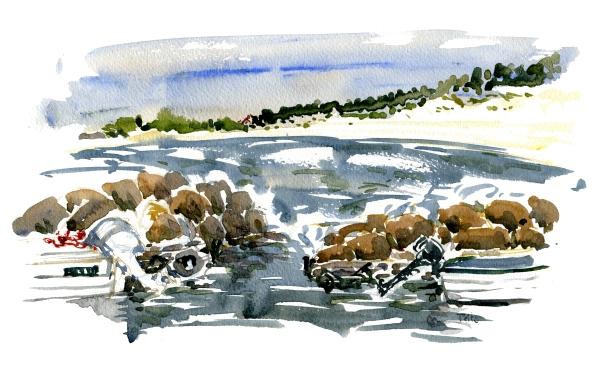 Balka, akvarel - Watercolor by Frits Ahlefeldt Bornholm Coast path