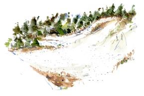 Dueodde sand, akvarel - Watercolor by Frits Ahlefeldt Bornholm Coast path