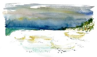 dueodde strand, akvarel - Watercolor by Frits Ahlefeldt Bornholm Coast path