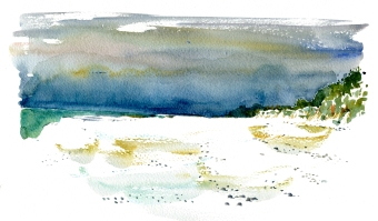 dueodde strand, akvarel - Watercolor by Frits Ahlefeldt Bornholm Coast path