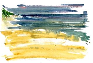beach, akvarel - Watercolor by Frits Ahlefeldt Bornholm Coast path
