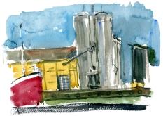 nexø, akvarel - Watercolor by Frits Ahlefeldt Bornholm Coast path