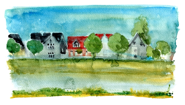 Nexo, akvarel - Watercolor by Frits Ahlefeldt Bornholm Coast path
