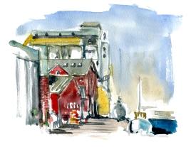 Nexo harbor,akvarel - Watercolor by Frits Ahlefeldt Bornholm Coast path