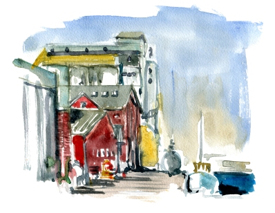 Nexo harbor,akvarel - Watercolor by Frits Ahlefeldt Bornholm Coast path