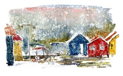 Nexø, houses in rain. akvarel - Watercolor by Frits Ahlefeldt Bornholm Coast path