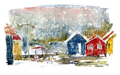 Nexø, houses in rain. akvarel - Watercolor by Frits Ahlefeldt Bornholm Coast path