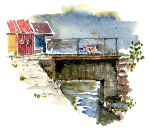 bro, nexo, akvarel - Watercolor by Frits Ahlefeldt Bornholm Coast path