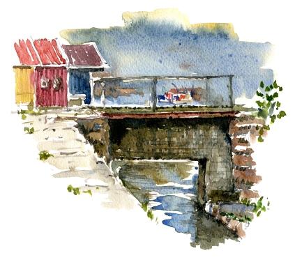bro, nexo, akvarel - Watercolor by Frits Ahlefeldt Bornholm Coast path