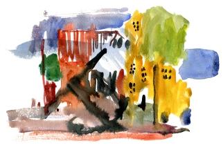 Nexo, akvarel - Watercolor by Frits Ahlefeldt Bornholm Coast path
