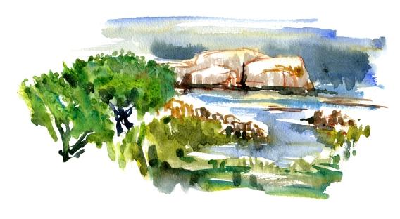 akvarel - Watercolor by Frits Ahlefeldt Bornholm Coast path