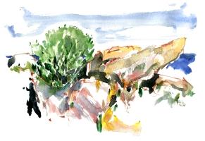 East coast, akvarel - Watercolor by Frits Ahlefeldt Bornholm Coast path
